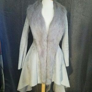 Bebe Faux Seude and Fur Coat